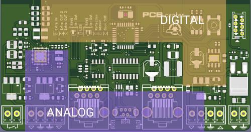 Przykład sekcji cyfrowej i analogowej na płytce PCB